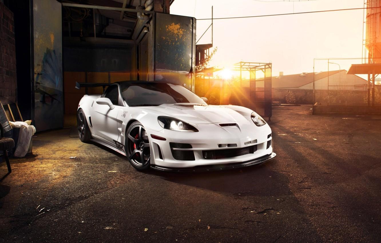 Photo wallpaper the sky, the sun, tuning, supercar, corvette, Chevrolet, zr1, chevrolet, tuning, the front, Corvette, zakat, …