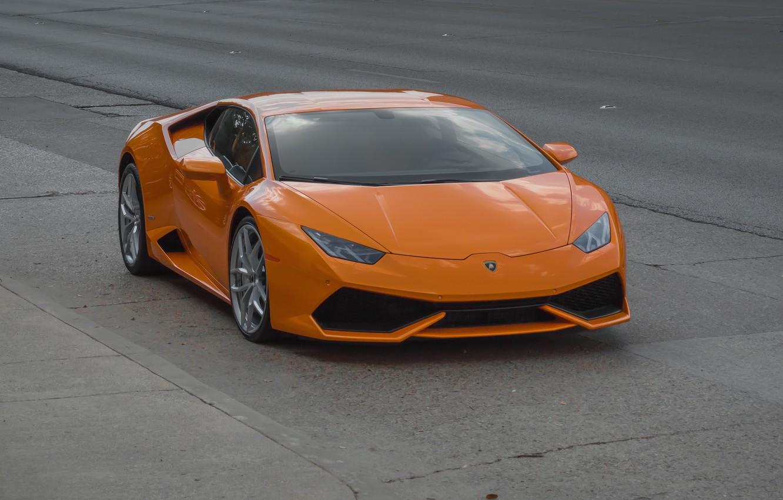 Photo wallpaper Lamborghini, Orange, Huracan