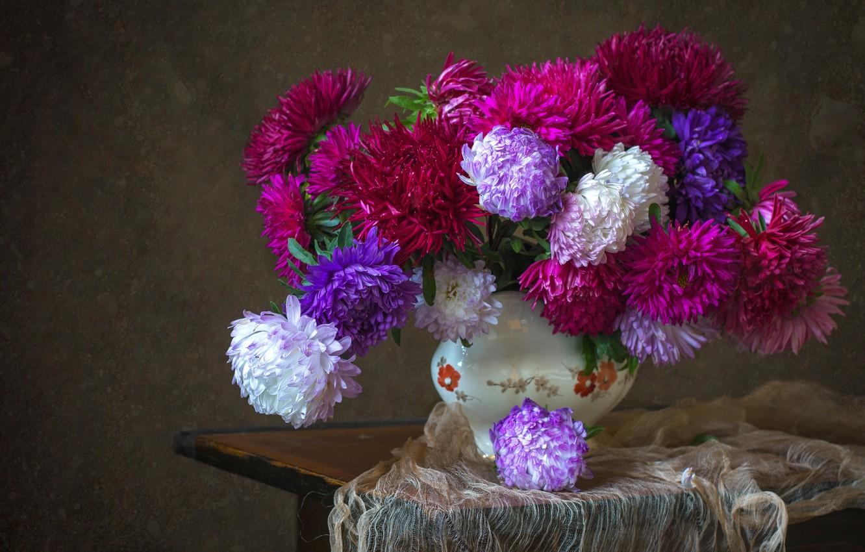 Photo wallpaper autumn, bouquet, asters
