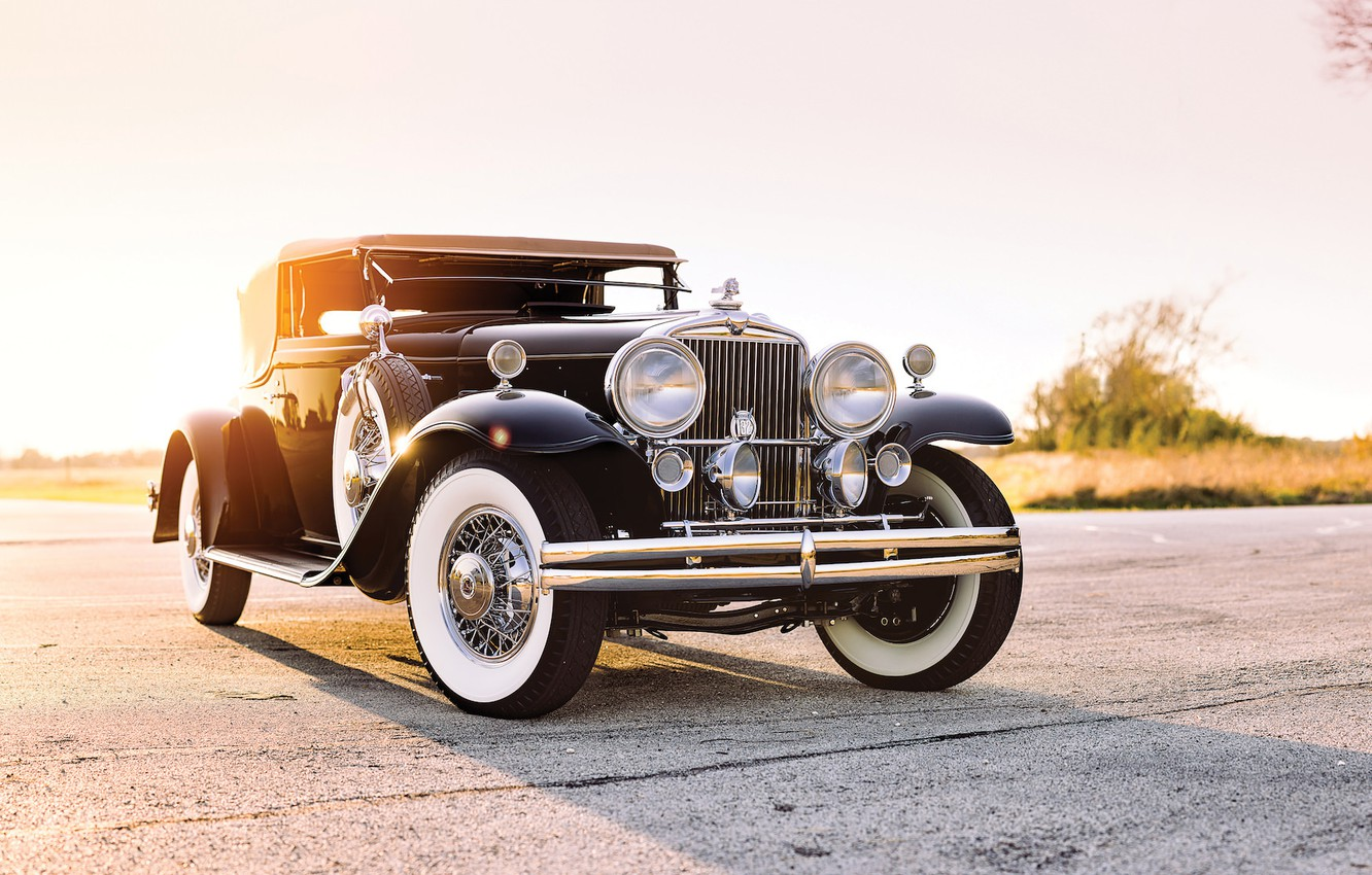 Photo wallpaper road, field, car, road, old, classic, american, 1931, STUTZ, CONVERTIBLE