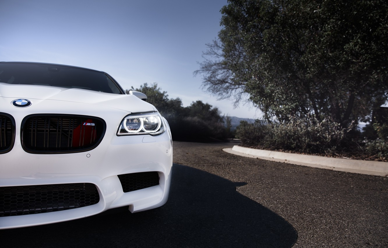 Photo wallpaper white, bmw, BMW, white, the front, angel eyes, f10, daylight