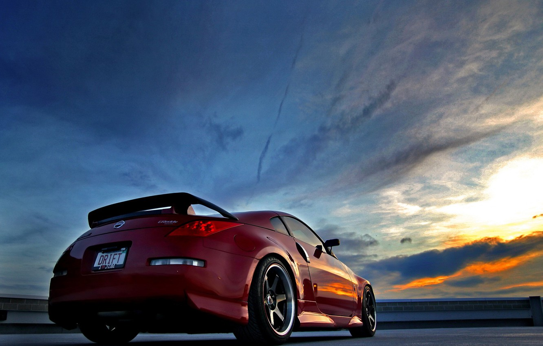 Photo wallpaper Sunset, Red, Nissan, Nissan