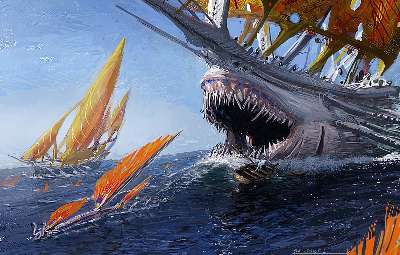 Photo wallpaper sea, fiction, danger, sailboat, monster, ships, art, mouth, fangs