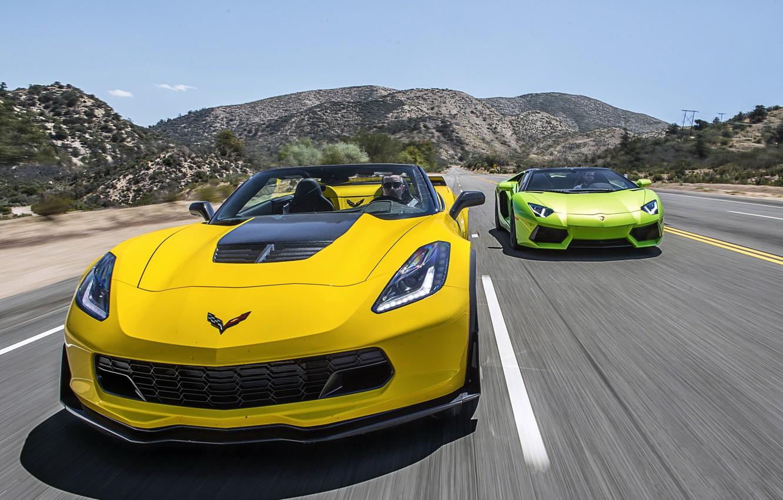 Photo wallpaper Lamborghini, Z06, Corvette, Chevrolet, supercar, convertible, Chevrolet, Lamborghini, Corvette, LP700-4, Aventador, aventador, Convertible