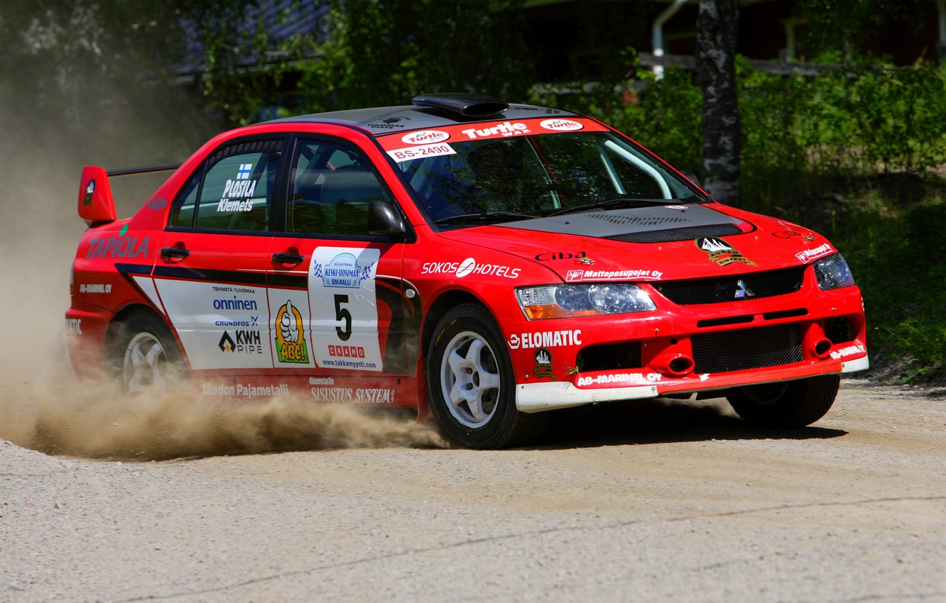 Photo wallpaper Red, Auto, Sport, Race, Mitsubishi, Red, WRC, Rally, Rally