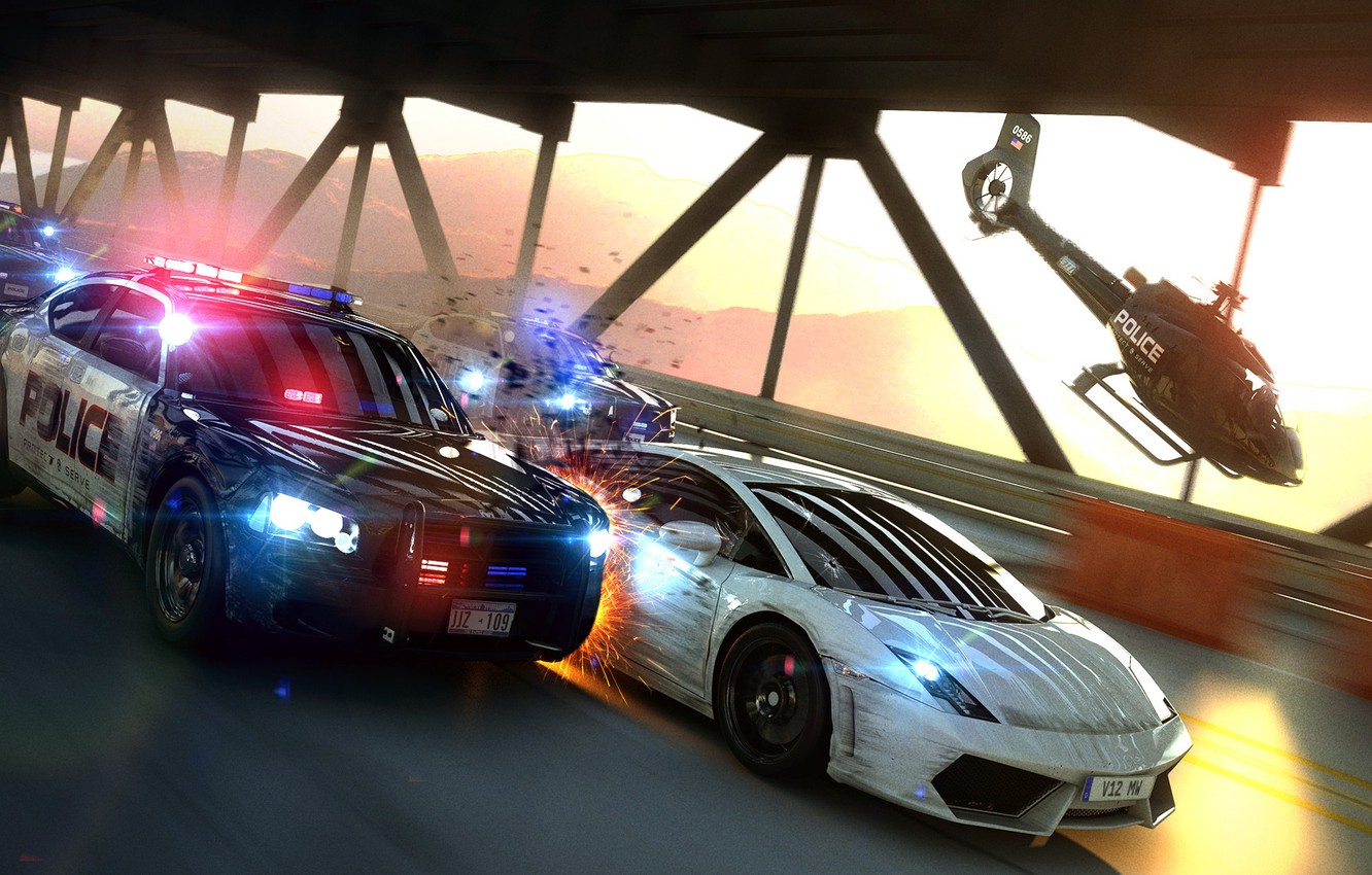 Photo wallpaper bridge, speed, police, chase, art, cops, Most Wanted Chase