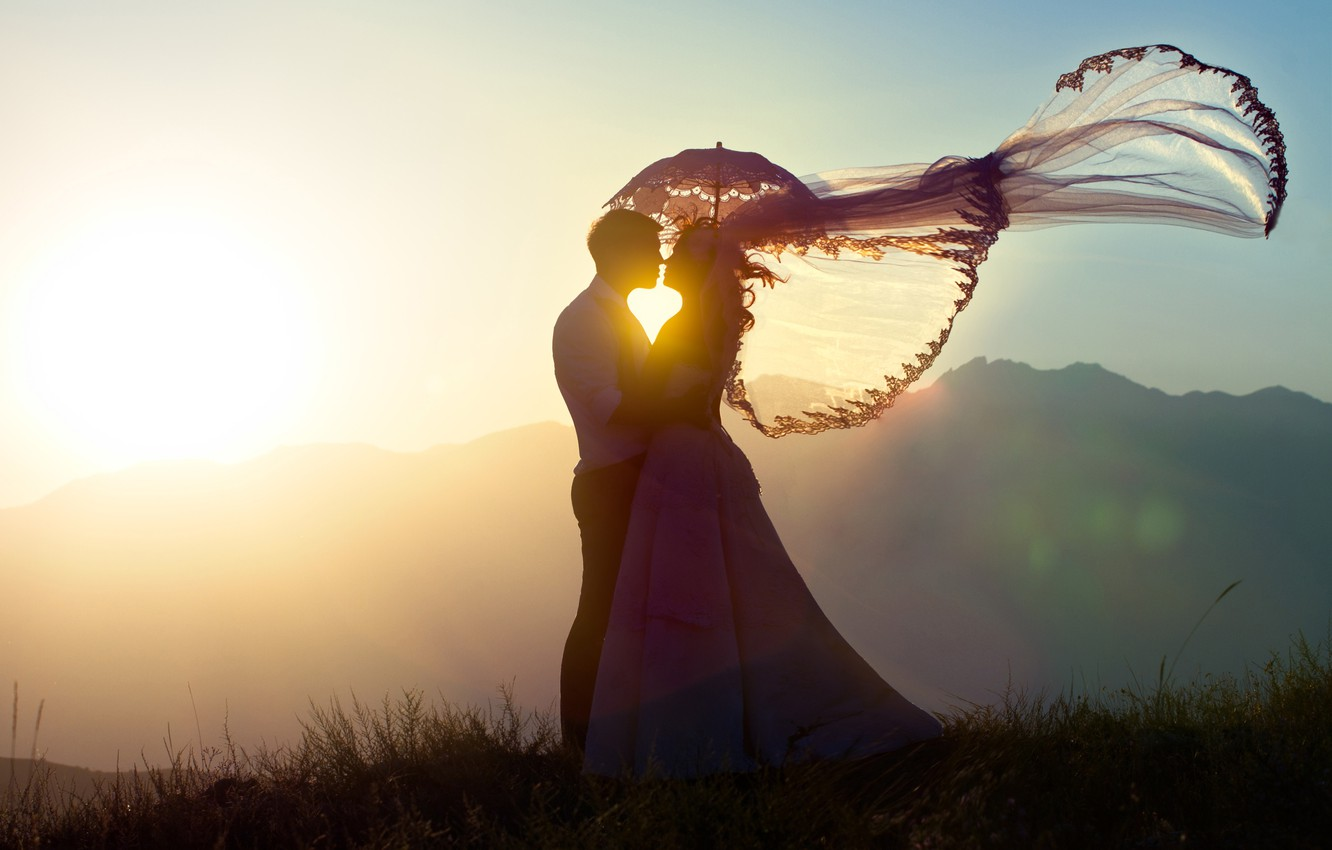 Photo wallpaper girl, sunset, mood, the situation, guy