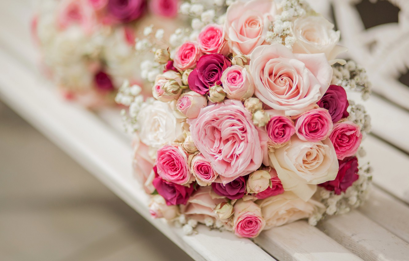 Photo wallpaper flowers, roses, bouquet, pink, flowers, bouquet, roses