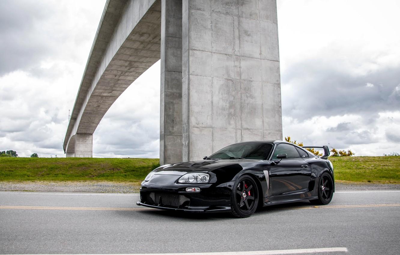 Photo wallpaper Toyota, Bridge, Black, Supra