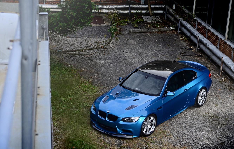 Photo wallpaper roof, reflection, blue, BMW, BMW, black, e92, carbon fiber, Atlantis Blue