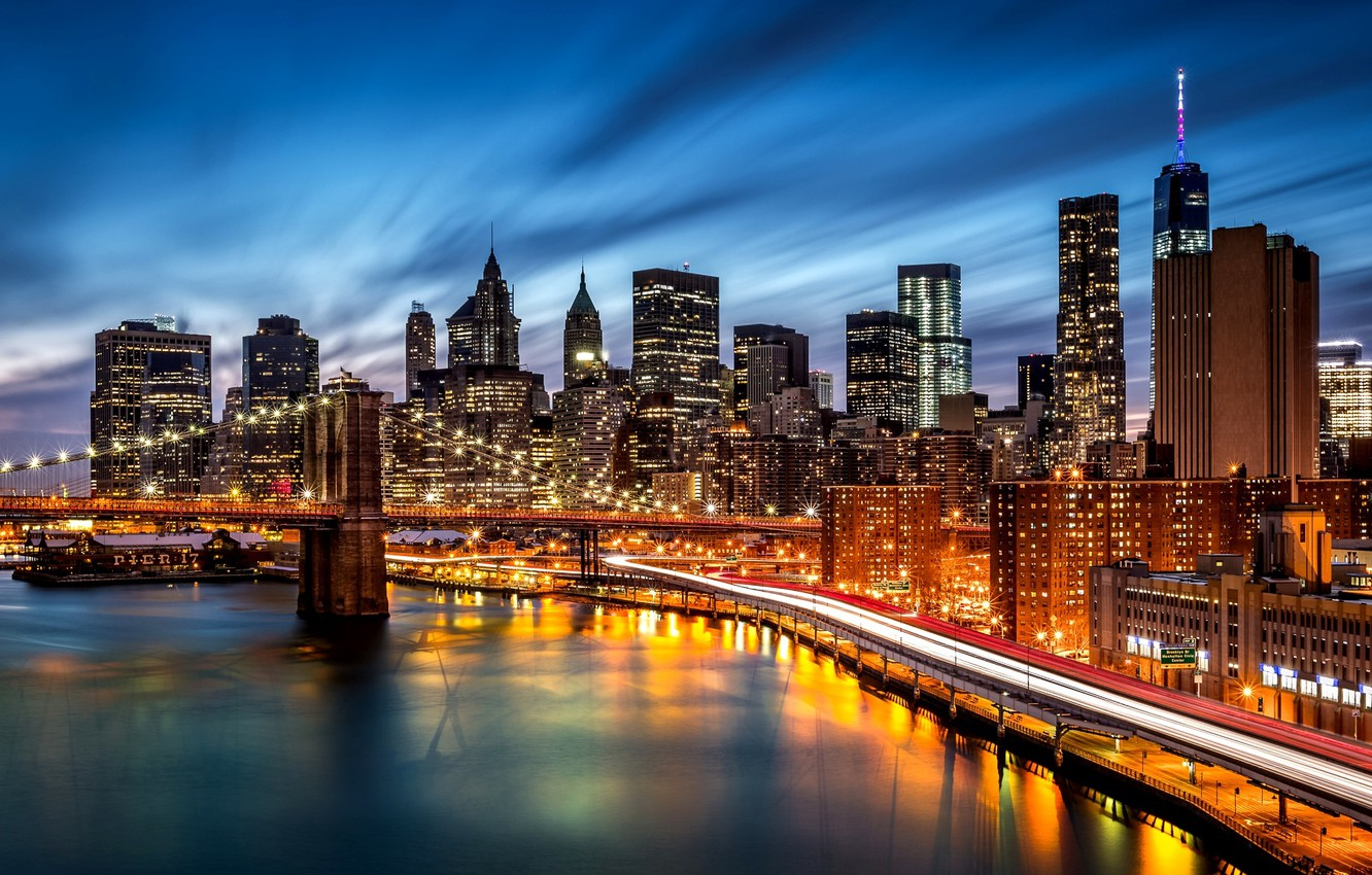 Photo wallpaper road, night, the city, lights, river, building, New York, skyscrapers, the evening, backlight, shadows, USA, …