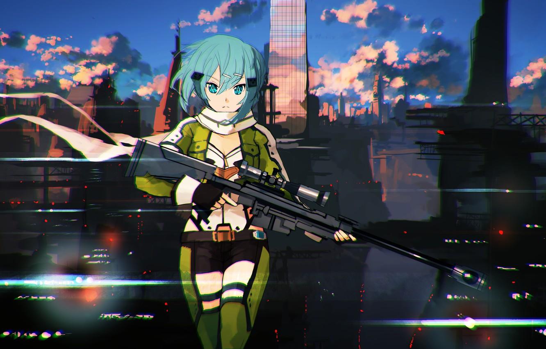 Photo wallpaper look, girl, the city, weapons, art, sword art online, shinon, jumpei99