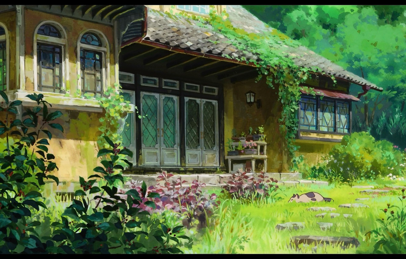 Photo wallpaper greens, cat, leaves, house, plants, Hayao Miyazaki, Arietti from the country of lilliput