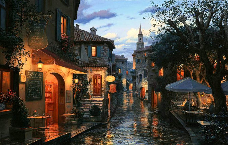 Photo wallpaper street, watch, home, the evening, bar, cafe, umbrellas, town, painting, chapel, bar, evening, street, houses, …