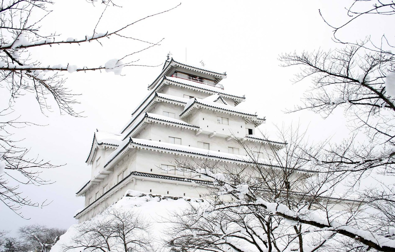 Photo wallpaper winter, snow, castle, Japan, garden