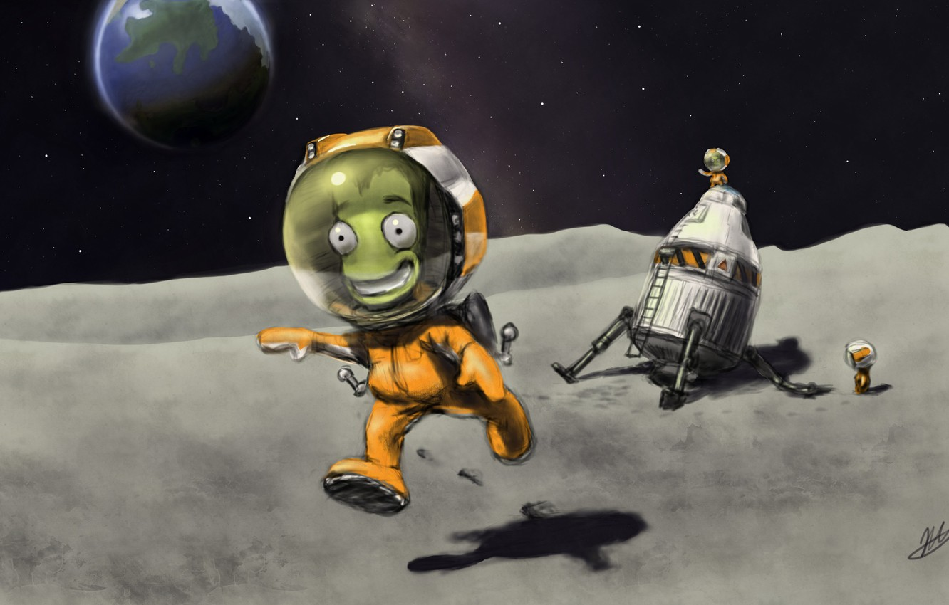 Wallpaper Space Moon Art Kerbal Space Program Images For