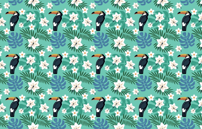 Photo wallpaper flowers, birds, tropics, Toucan