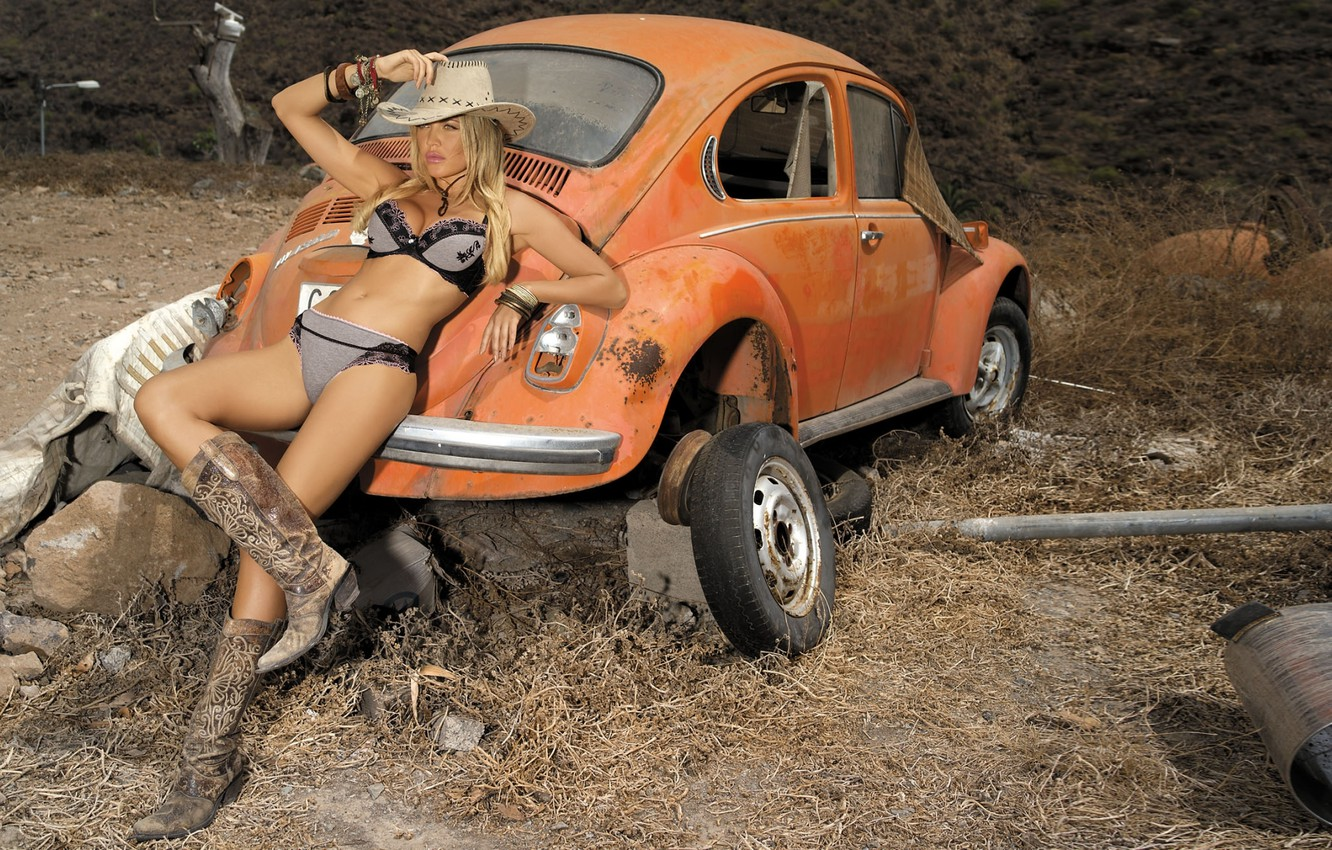 Photo wallpaper chest, girl, orange, sexy, background, model, body, tummy, hat, boots, Volkswagen, figure, Beetle, legs, sexy, …