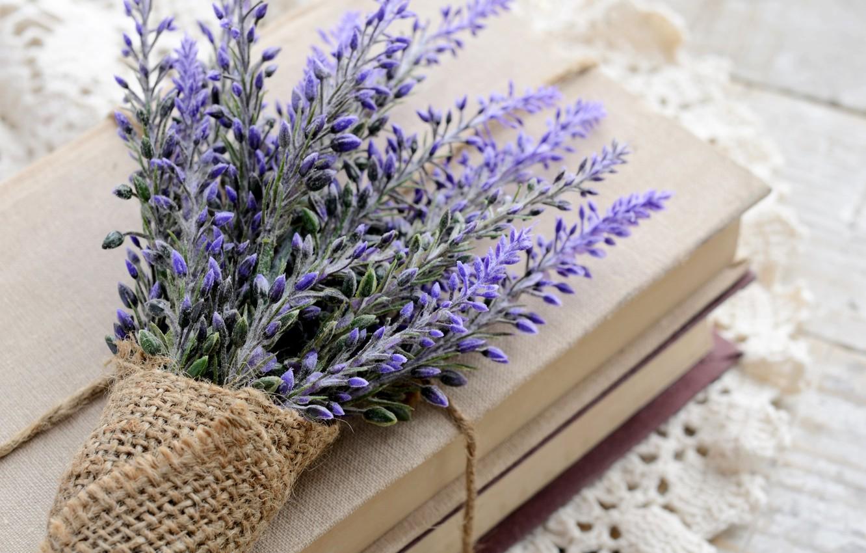 Photo wallpaper flowers, books, bouquet, lavender, napkin