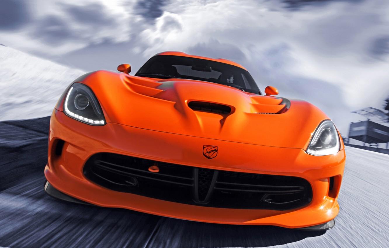 Photo wallpaper orange, Dodge, Dodge, supercar, Viper, the front, Viper, SRT