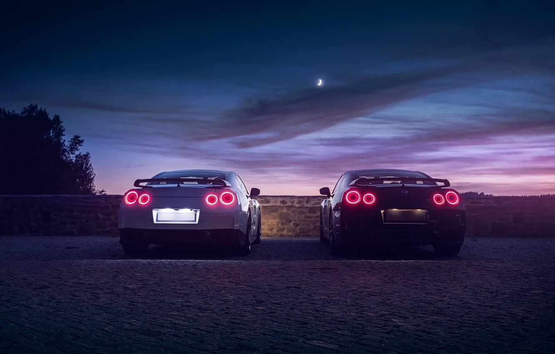 Photo wallpaper GTR, Moon, Nissan, Sky, Black, Lights, White, R35, Rear, Nigth
