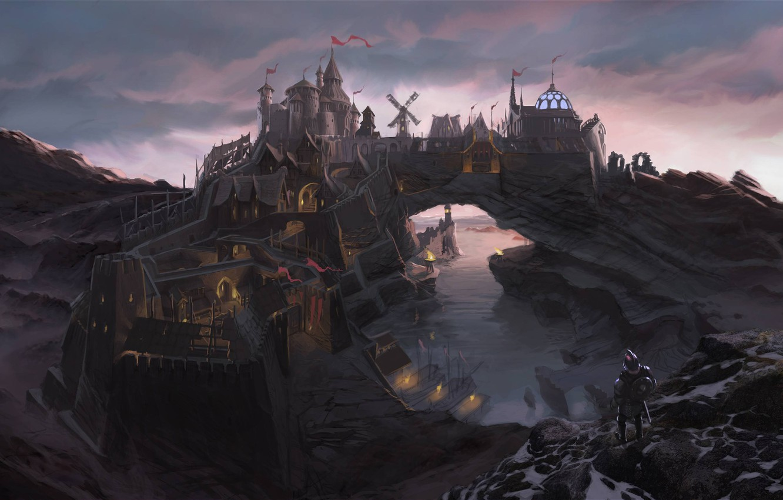 Photo wallpaper bridge, the city, river, rocks, people, Bay, fortress, Skyrim, concept art, The Elder Scrolls V, …