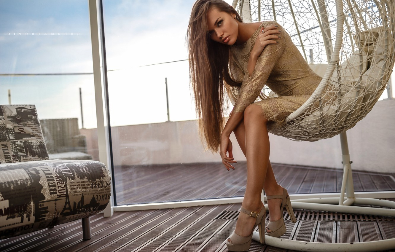 Photo wallpaper hair, chair, dress, window, Angelina Petrova