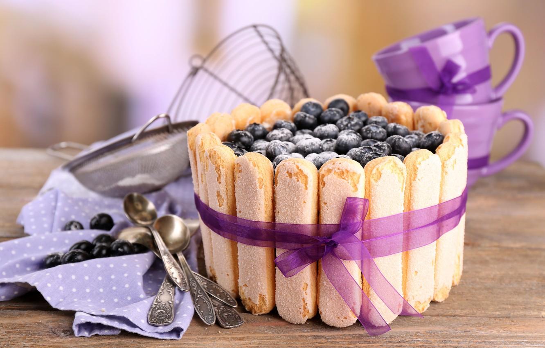 Photo wallpaper berries, blueberries, cake, cake, cream, dessert, cakes, sweet, sweet, dessert, berries