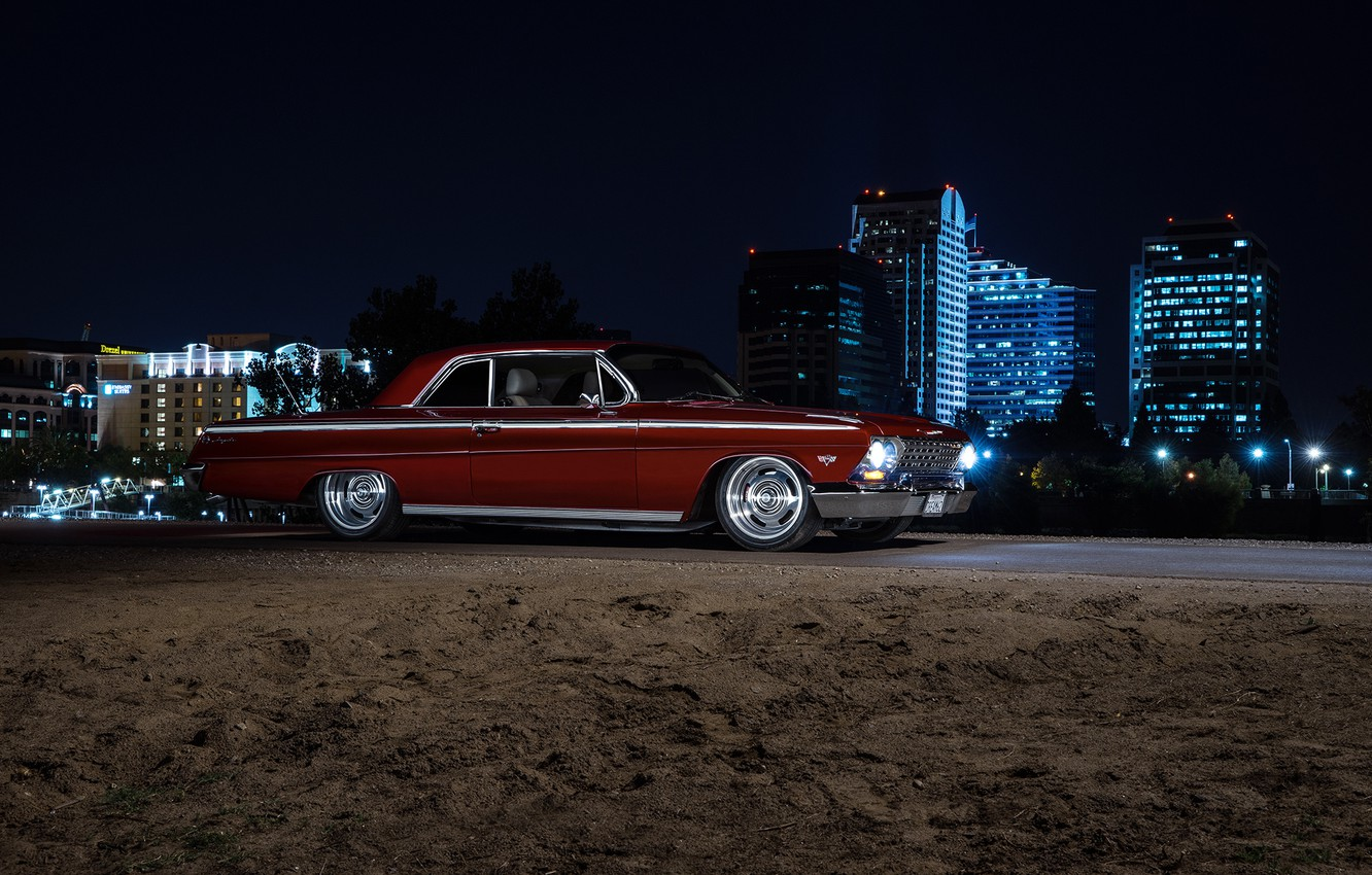 Photo wallpaper Chevrolet, Muscle, Car, Front, Night, Impala, American, 1962