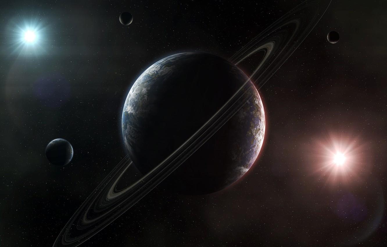 Photo wallpaper light, planet, ring, stars, small planet