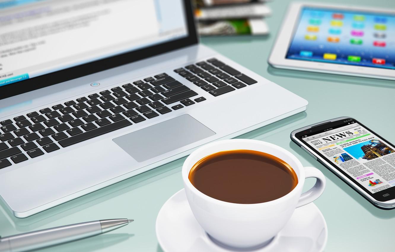 Photo wallpaper coffee, technique, notebook, smartphone