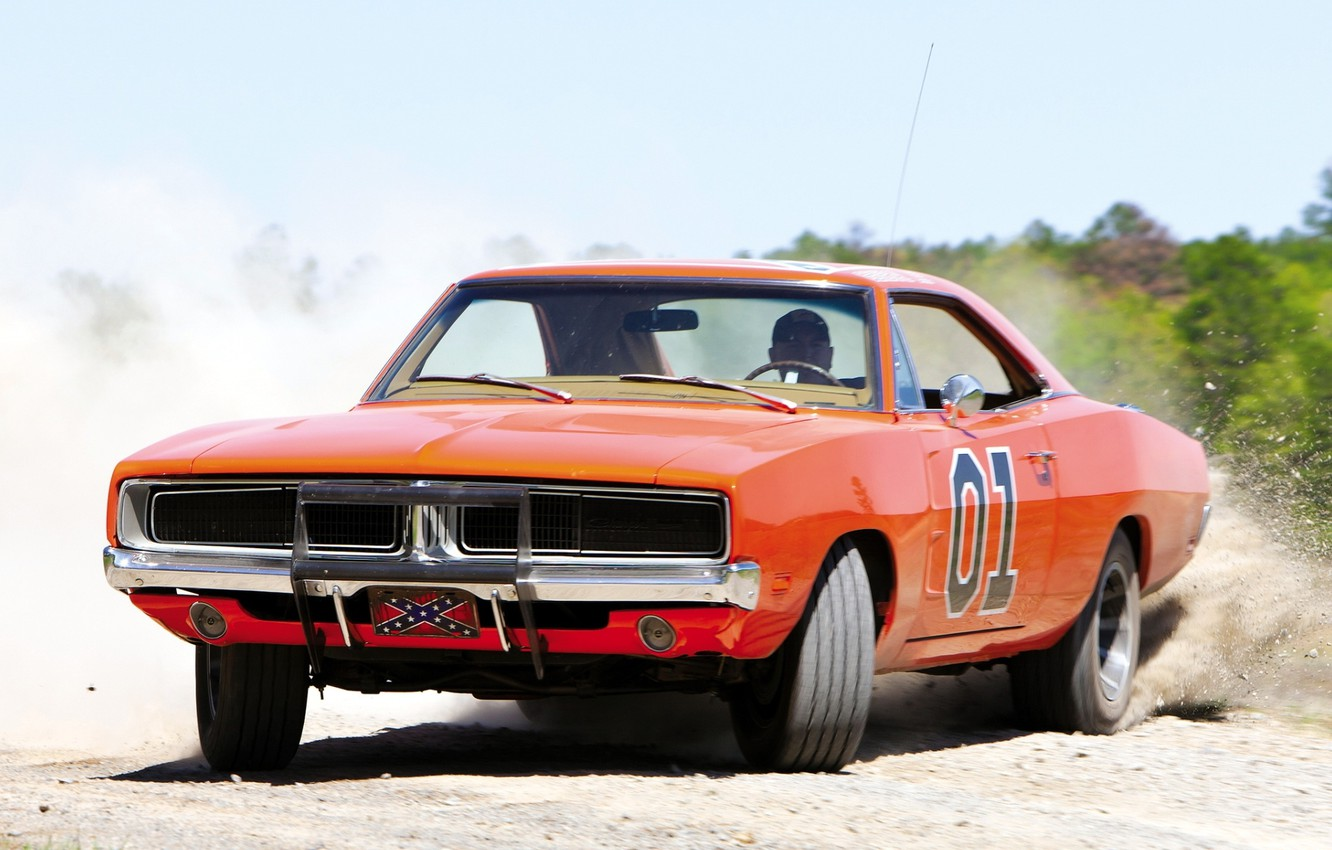 Photo wallpaper orange, background, dust, skid, Dodge, 1969, Dodge, Charger, Muscle car, General Lee, the front.Muscle car, …