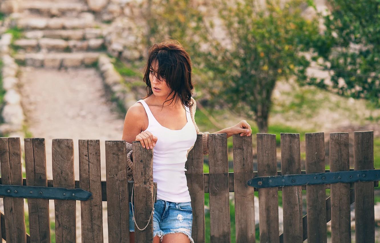 Photo wallpaper girl, the fence, shorts, village, wicket, Lena, Lashon Rise