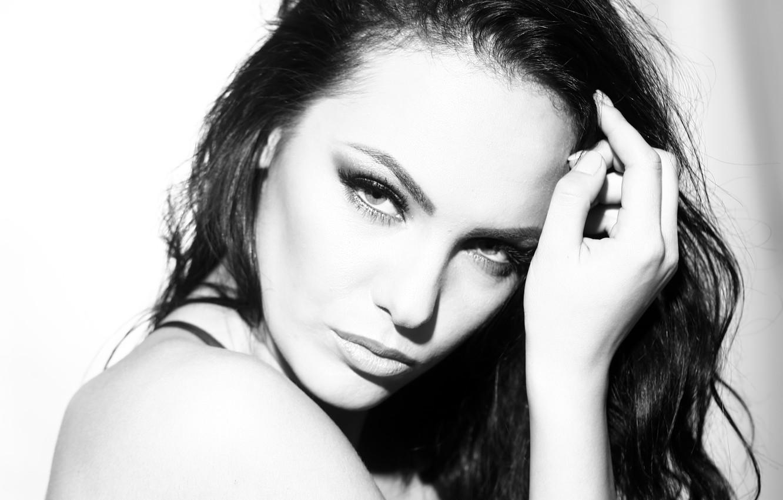 Photo wallpaper white, black, model, brunette