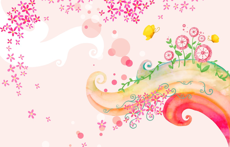 Photo wallpaper flowers, butterfly, baby Wallpaper, curl