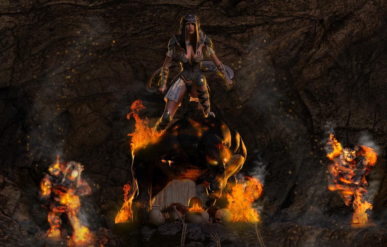 Photo wallpaper weapons, fire, Girl, armor, monsters, skull, cave