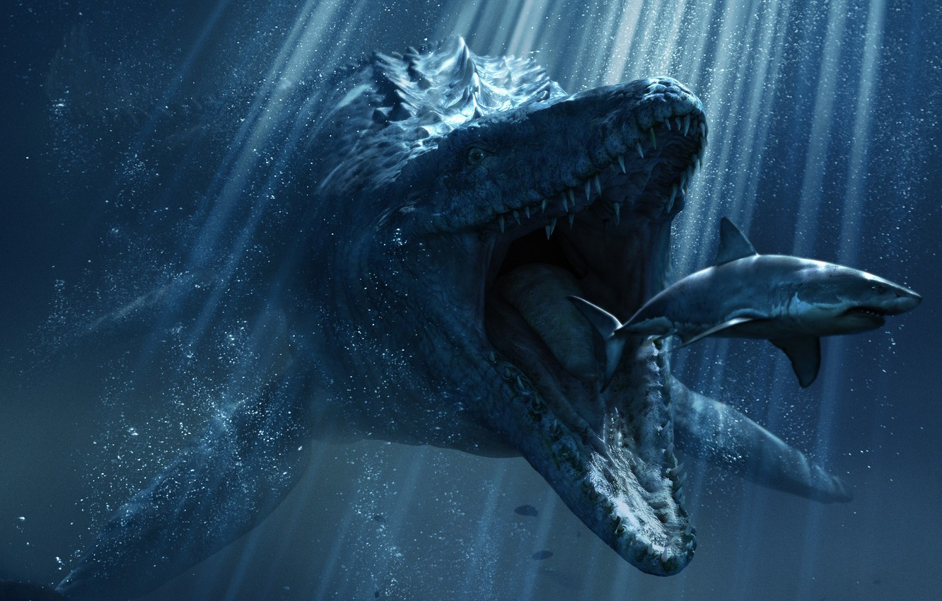 Photo wallpaper shark, teeth, mouth, under water, rays of light, reptile, Jurassic world, Jurassic World