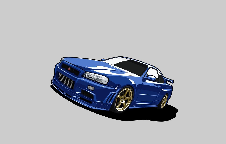 Photo wallpaper vector, nissan, skyline, Nissan, gt-r, gtr, r34, gtr, skyline, V-spec