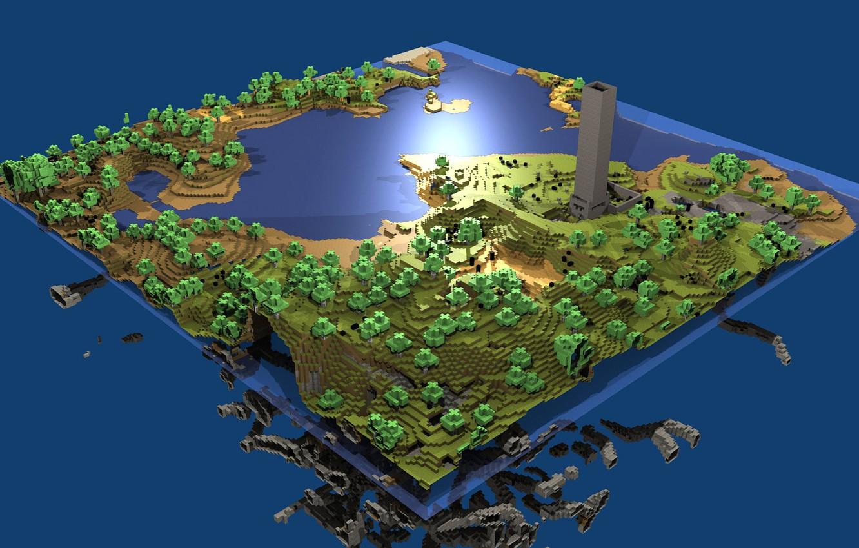 Photo wallpaper game, water, minecraft, 16bit, pixels