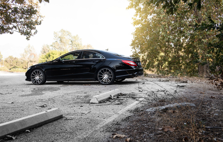 Photo wallpaper side, black, Mercedes Benz, Mercedes, CLS550