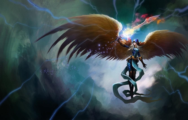 Photo wallpaper girl, magic, zipper, wings, angel, sword, art, League of Legends, kayle