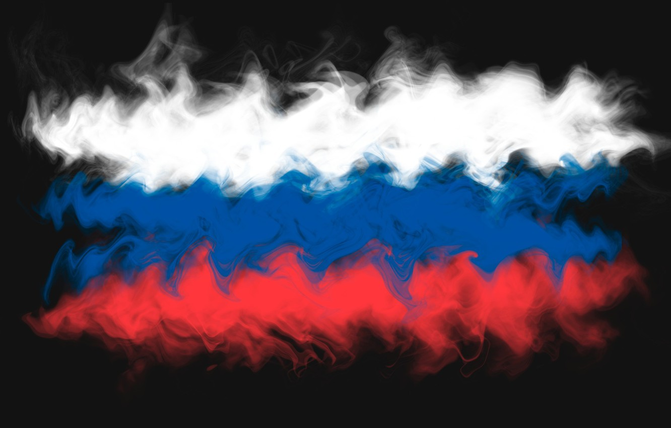 Photo wallpaper abstraction, smoke, flag, Russia, tricolor, Russia