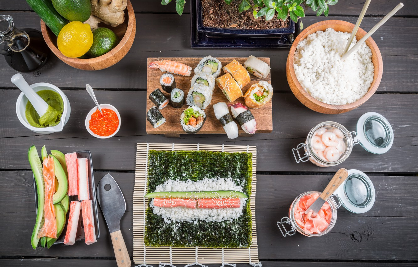 Photo wallpaper food, rolls, sushi, sushi, rolls, Japanese cuisine, products, Japanese cuisine, cooking, cooking