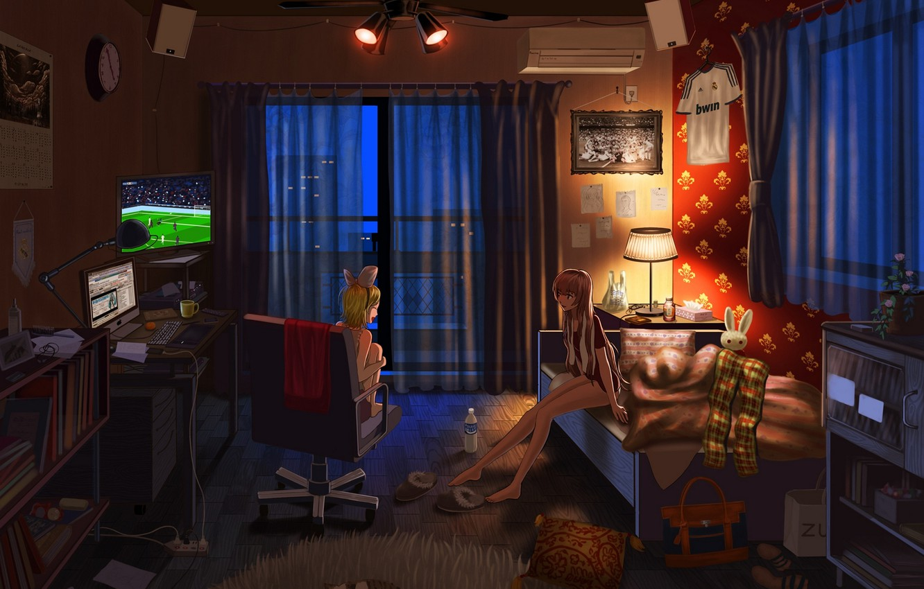 Photo wallpaper computer, cat, night, lights, girls, room, football, things, the ball, watch, bottle, lamp, bed, home, …