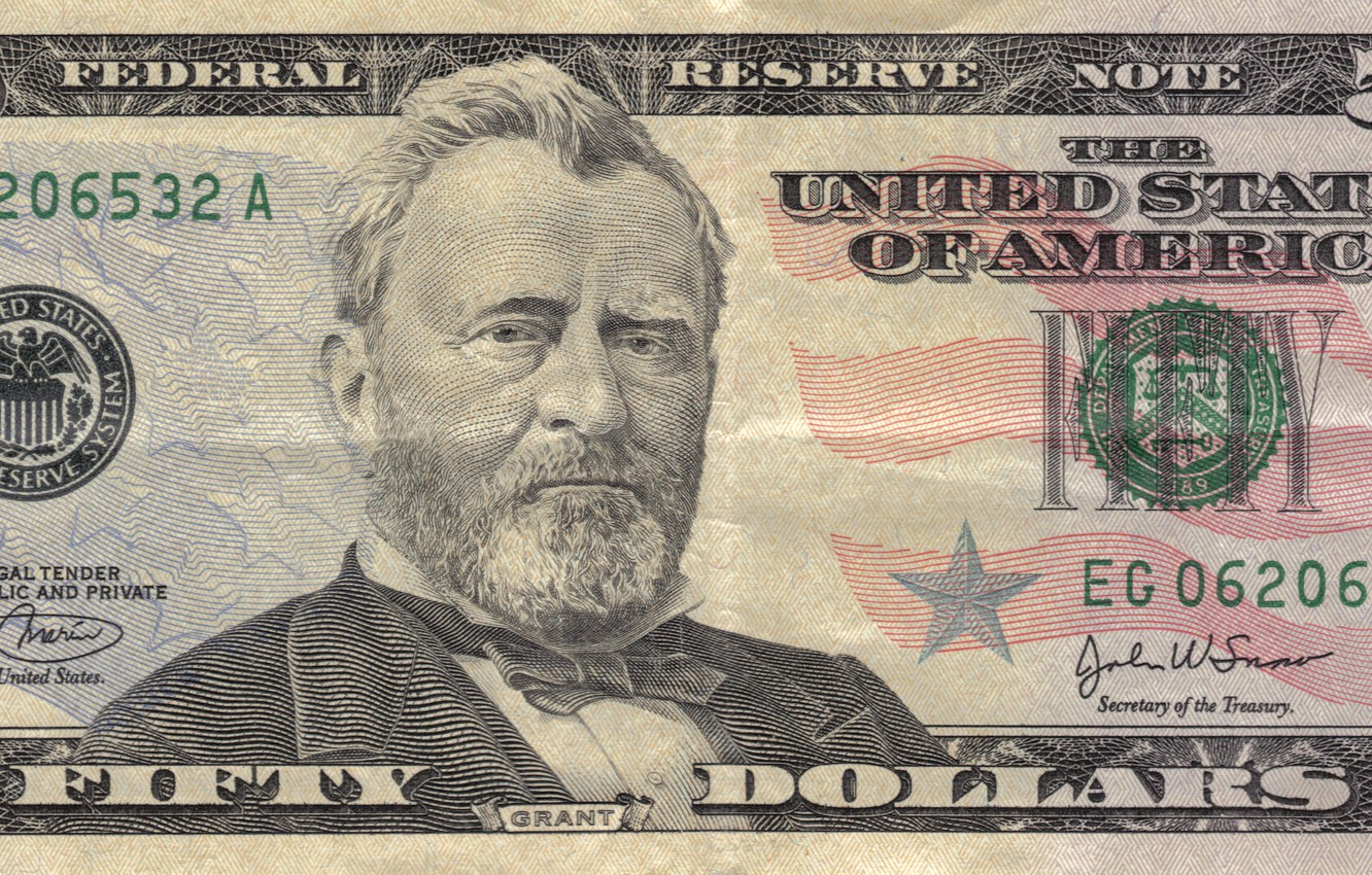 Photo wallpaper note, america, states, Grant, dollars, United, federal, fifty