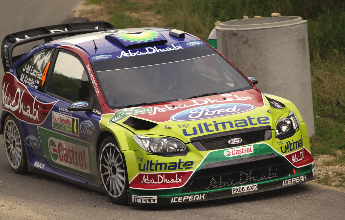 Photo wallpaper Ford, Auto, Sport, Machine, Ford, The hood, Lights, Focus, WRC, Rally