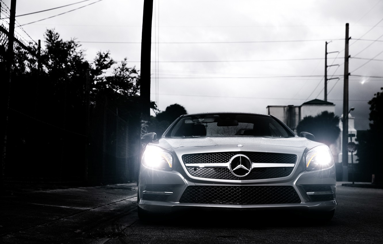 Photo wallpaper Mercedes-Benz, front, SL-class, silvery, SL 550, R231