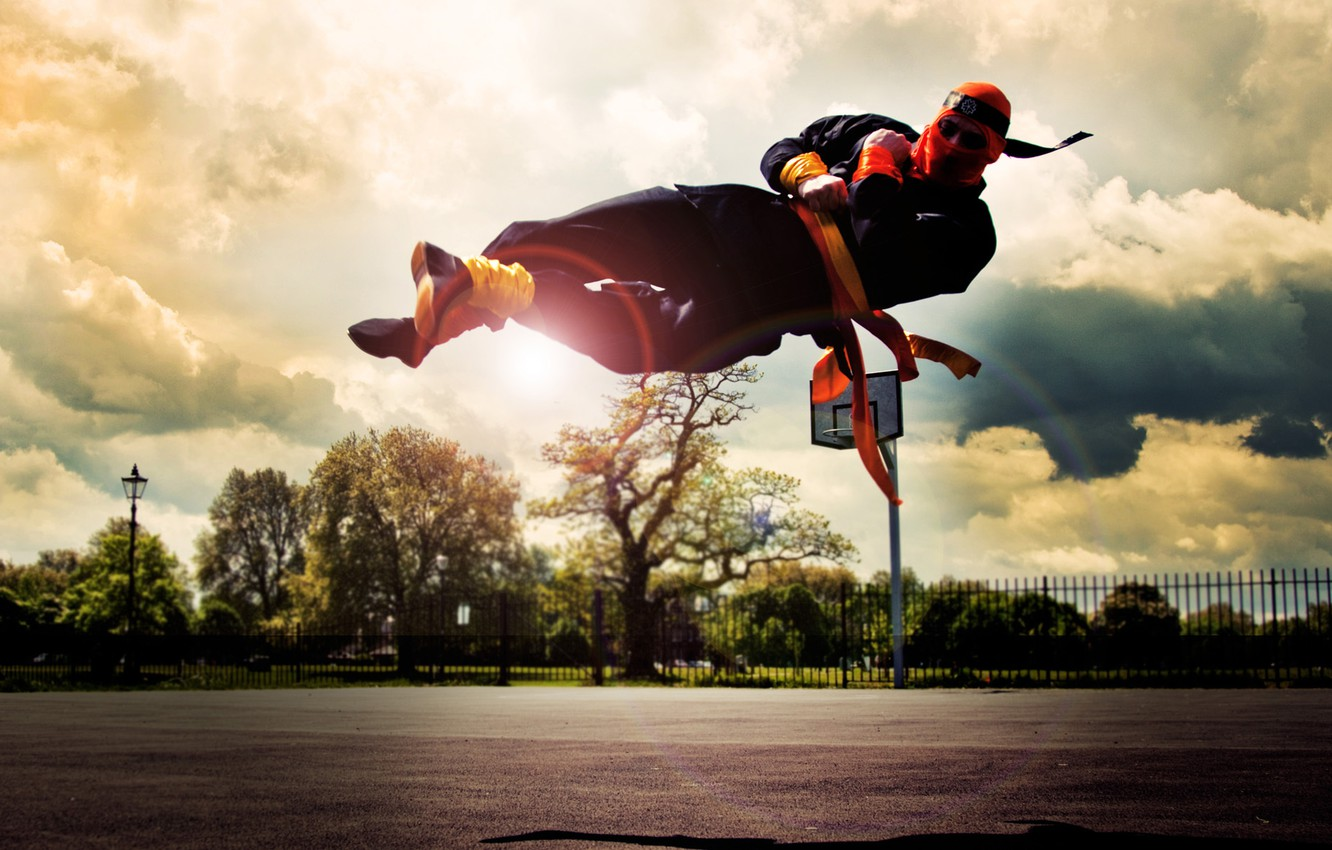 Photo wallpaper the sky, street, the fence, rainbow, mask, ring, ninja, parkour, tricking, trying, parkour, cork
