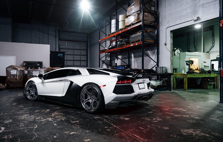 Photo wallpaper Lamborghini, White, Matte, Tuning, LP700-4, Aventador, Supercar, Wheels, Garage, Rear, ADV.1
