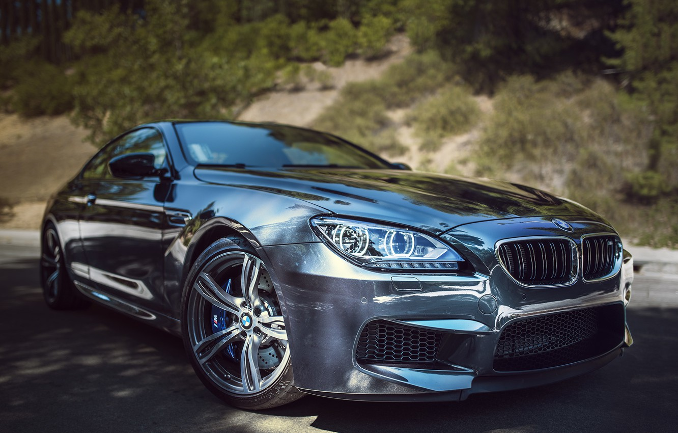Photo wallpaper BMW, Front, Coupe, Street, Silver, F13